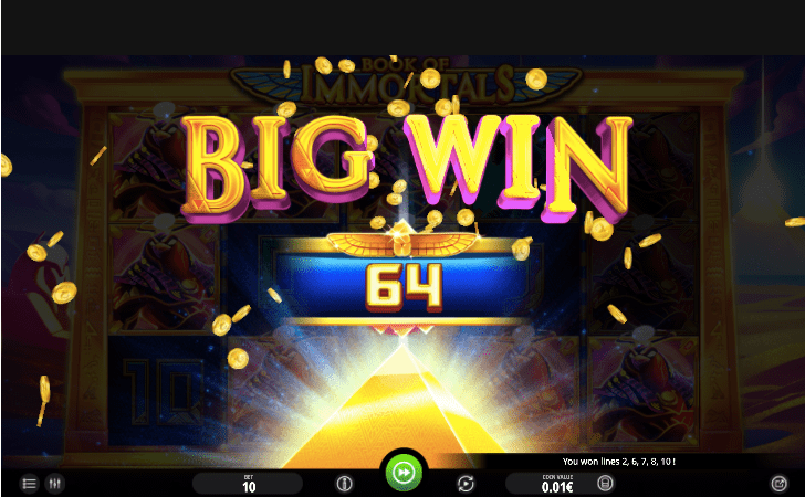 Big wins in Book of Immortals slot really glues the player to the screen.