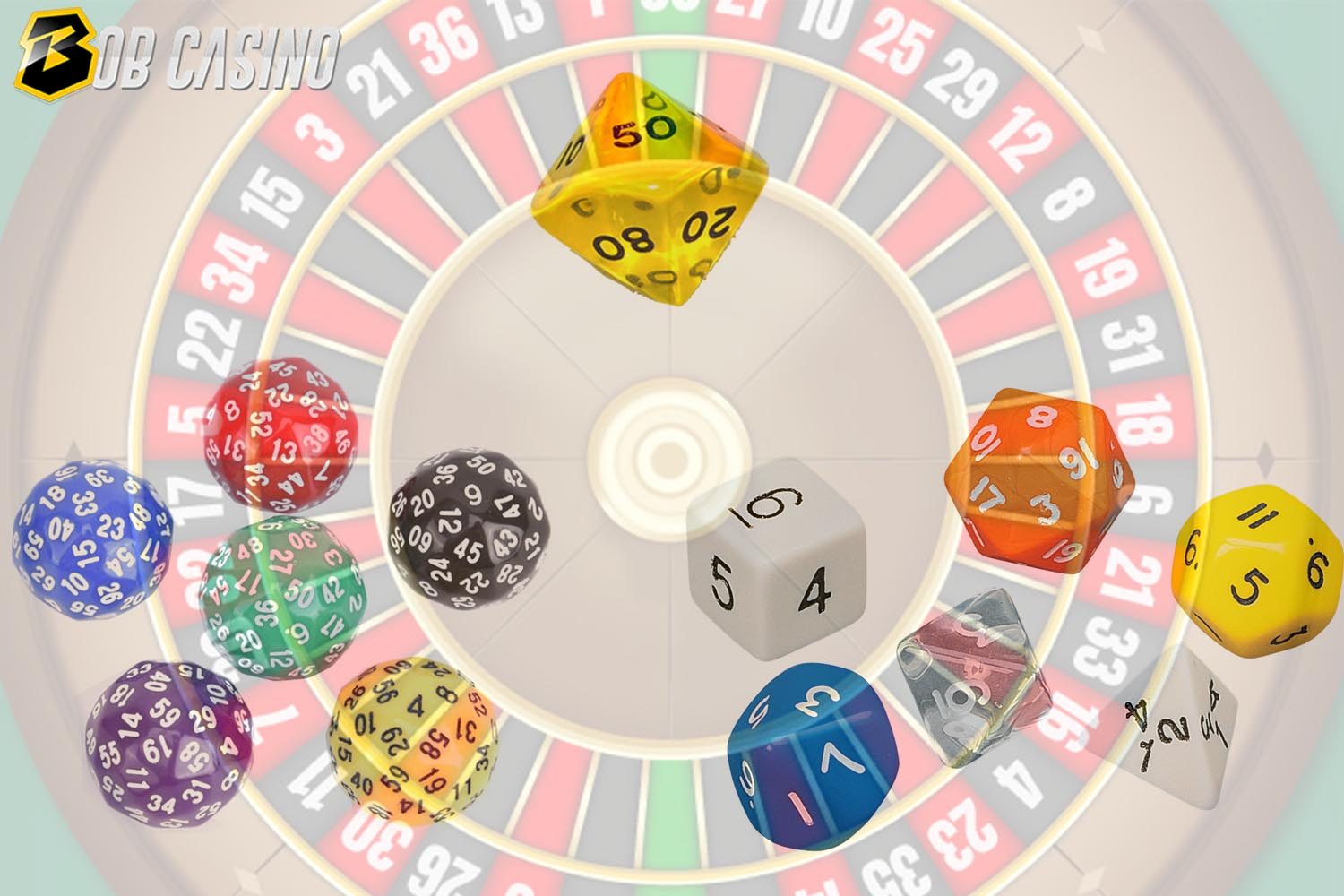 Platonic solid dice, Trapezohedron and other types of dices in roulette.