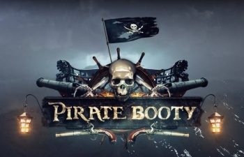 Logo of the Pirate Booty slot game, which resembles a skull, guns and a pirate ship.