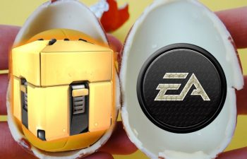 An opened Kinder Egg reveals a loot box, which is how EA Games sees the issue of gambling in video games.