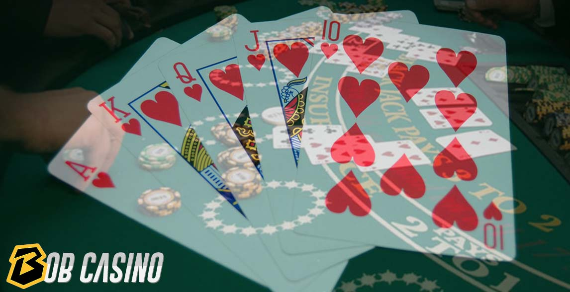 Royal Flush Cards and chips on the poker table