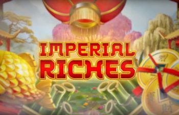 Oriental accessories surrounding the Imperial Riches slot logo.