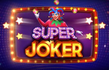 An evil-looking jester looking at our Super Joker slot review over the game logo.
