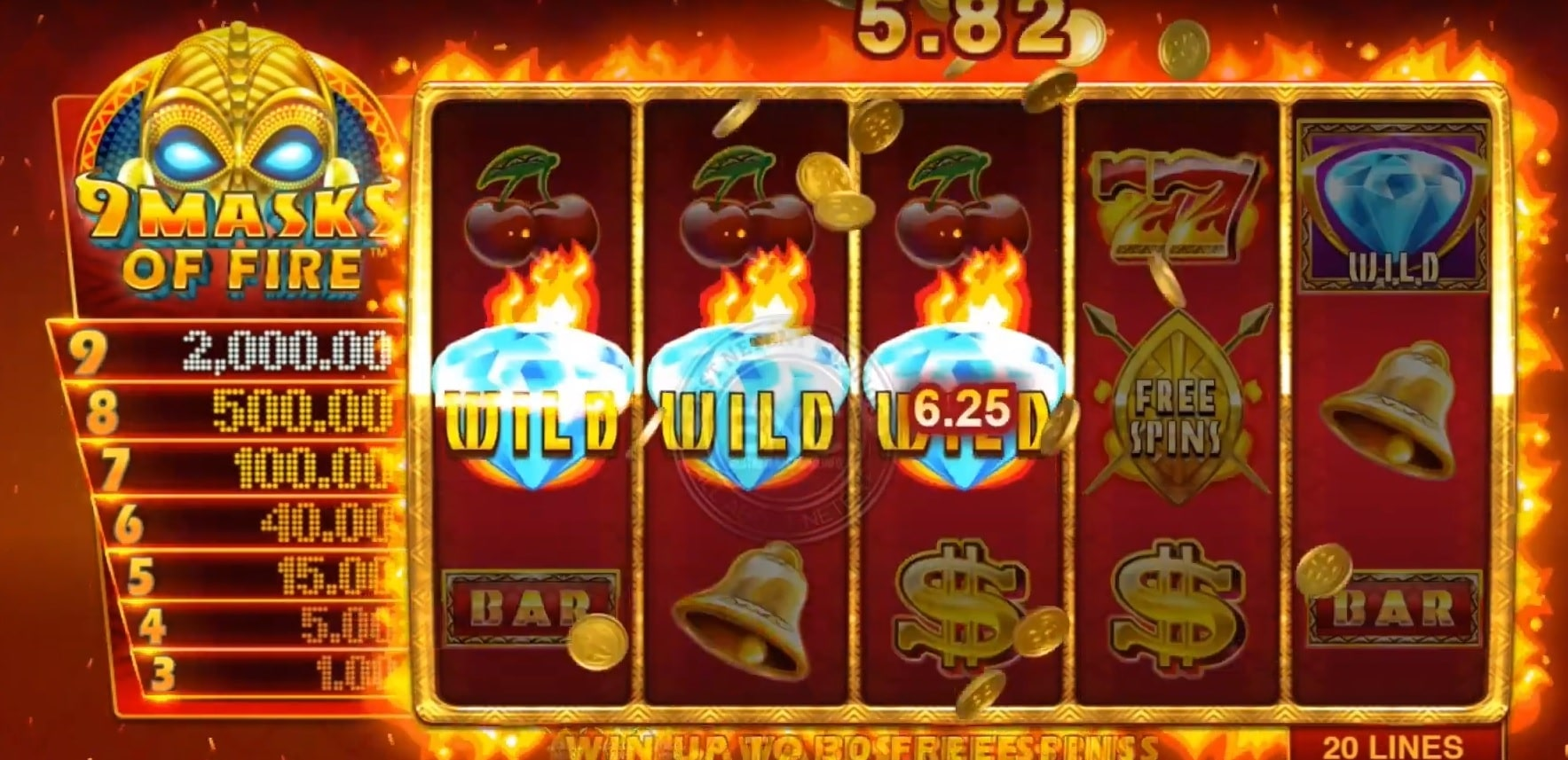 Layout of the 9 Masks of Fire slot that ended up on the top new slots in October 2019.