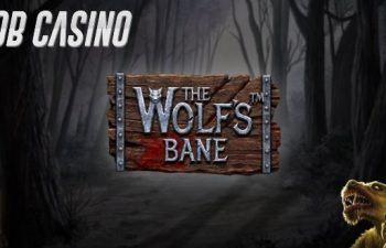 The Wolf's Bane slot logo surrounded by a dark forest, right on time for Halloween.