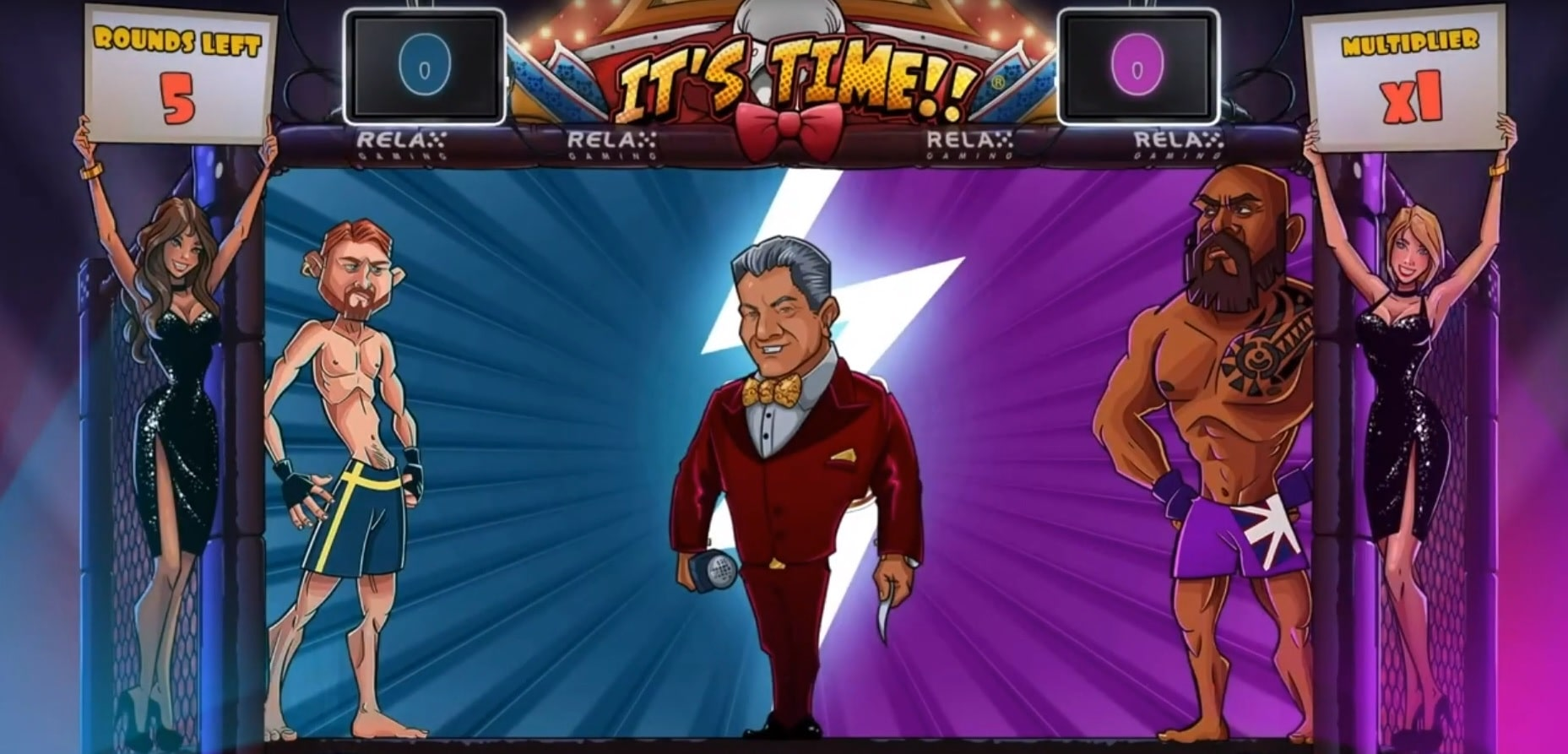 Bruce Buffer featured in the gameplay of It's Time slot from Relax.