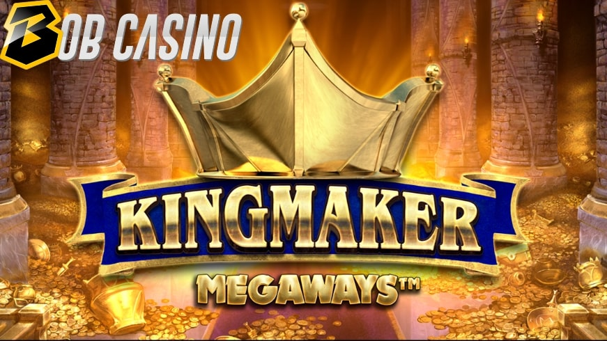 The gold and the crown around the King Maker Megaways slot logo.