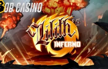 Lilith's Inferno slot logo situated among the ruins that are set ablaze.