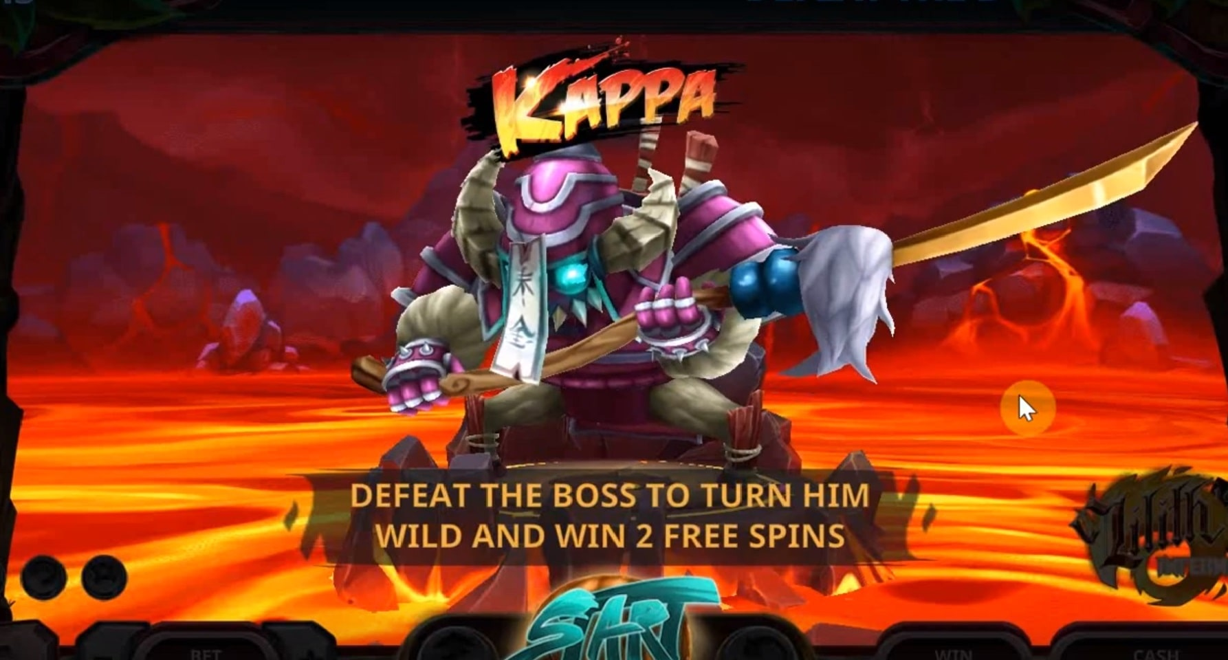 The level boss Kappa in the Lilith's Inferno slot from Yggdrasil.