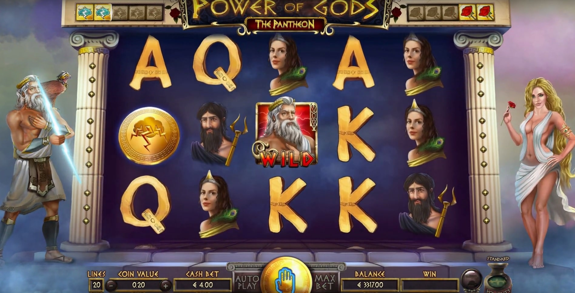 Power of Gods: The Pantheon slot showing off the whole Pantheon of Greek Gods.