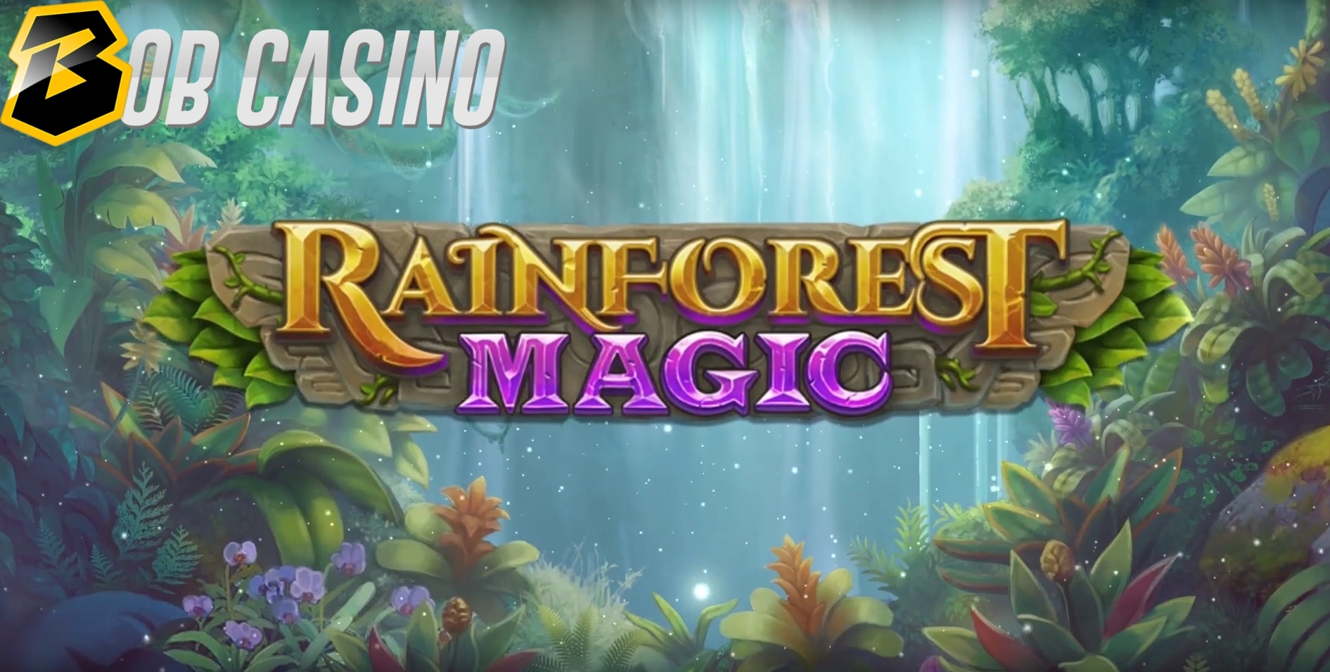 The tropical rainforest surrounding the logo of the new Rainforest Magic slot from Play'N Go.