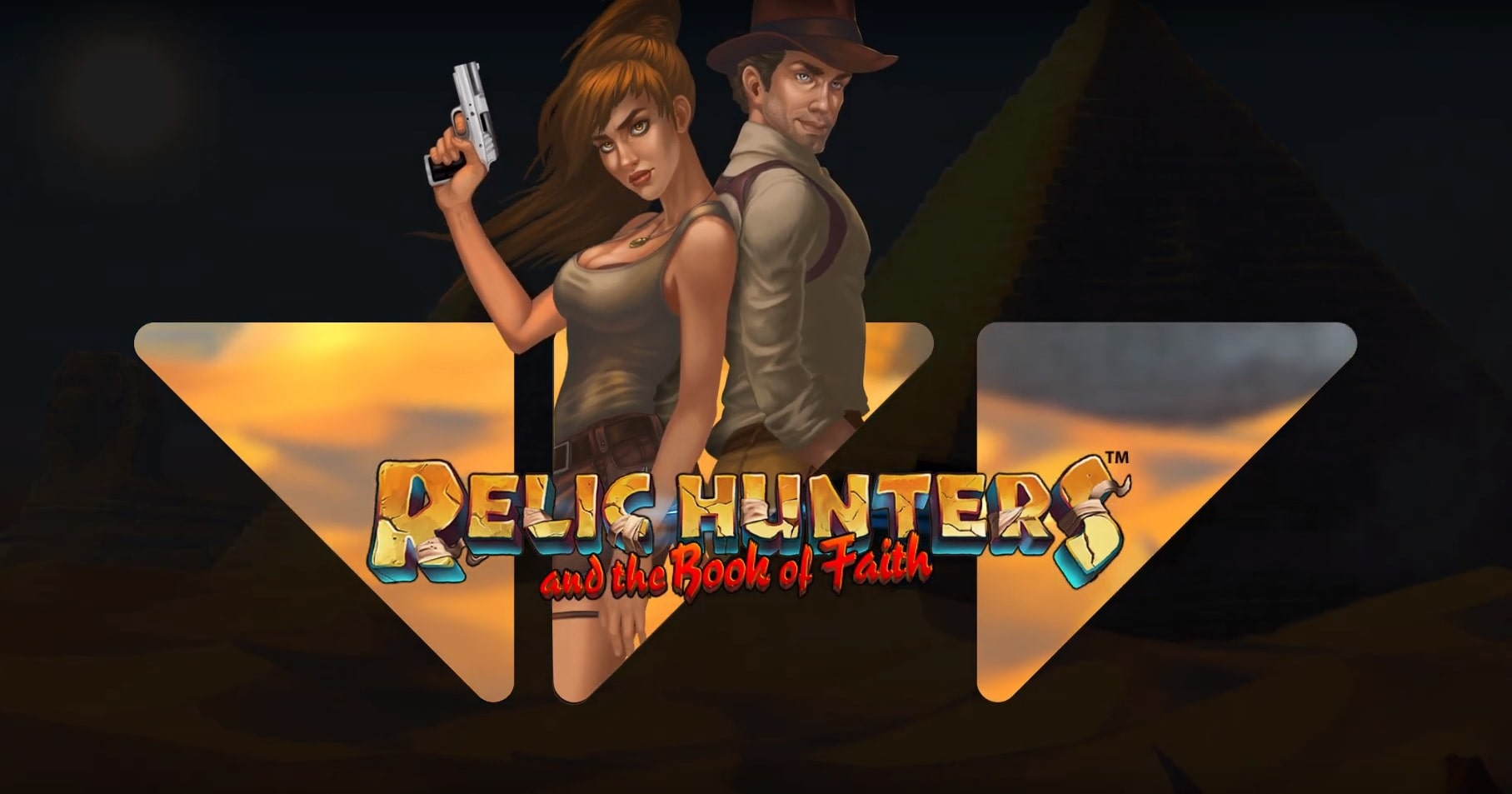 The main characters of the Relic Hunters and the Book of Faith slot from Wazdan.