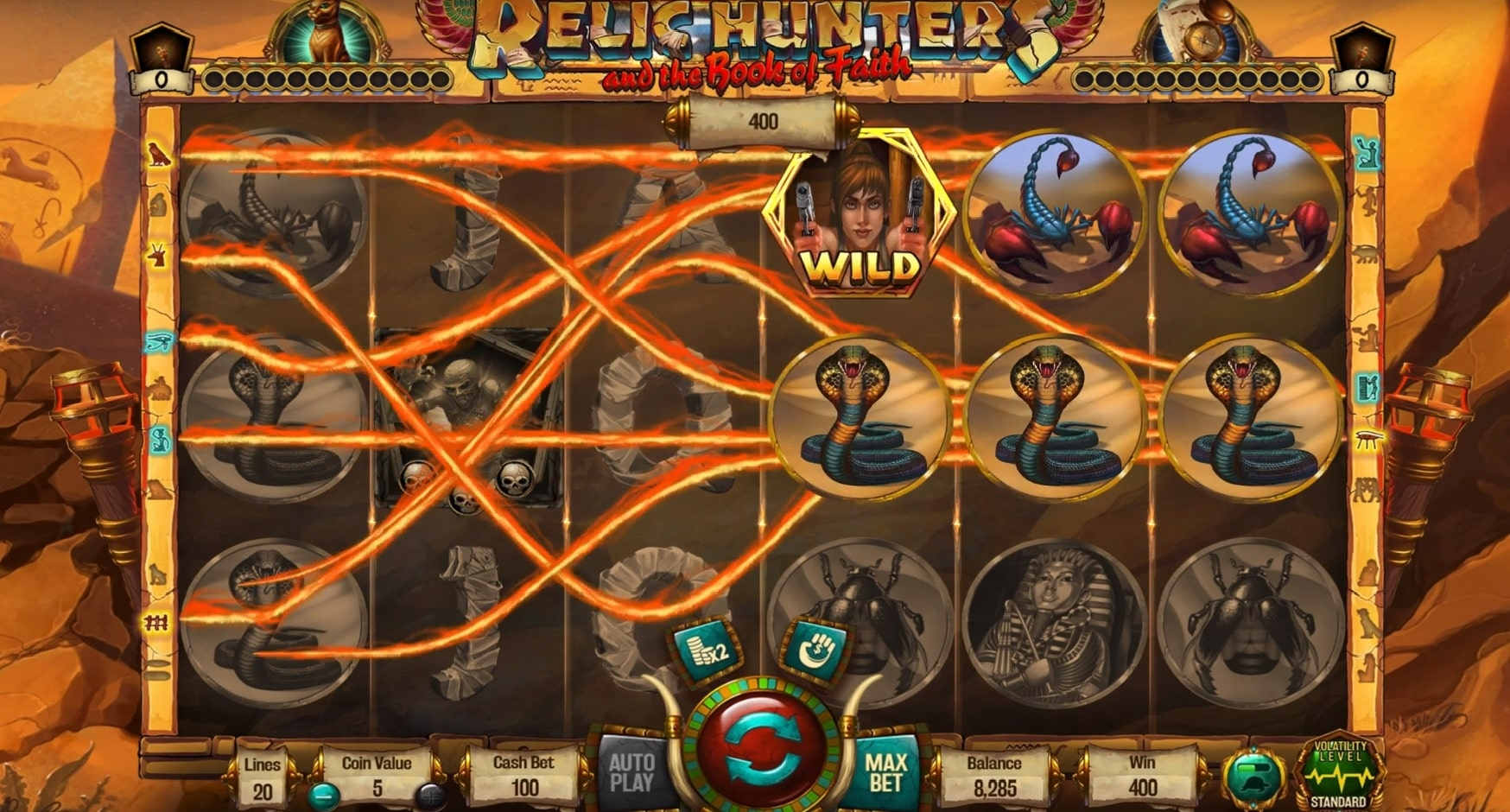 Paylines of Relic Hunters & the Book of Faith slot from Wazdan, the best new slot of October 2019.