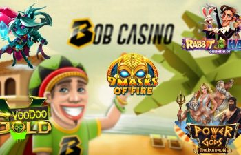 Bob standing with the logos of some of the top new slot game releases of October 2019.