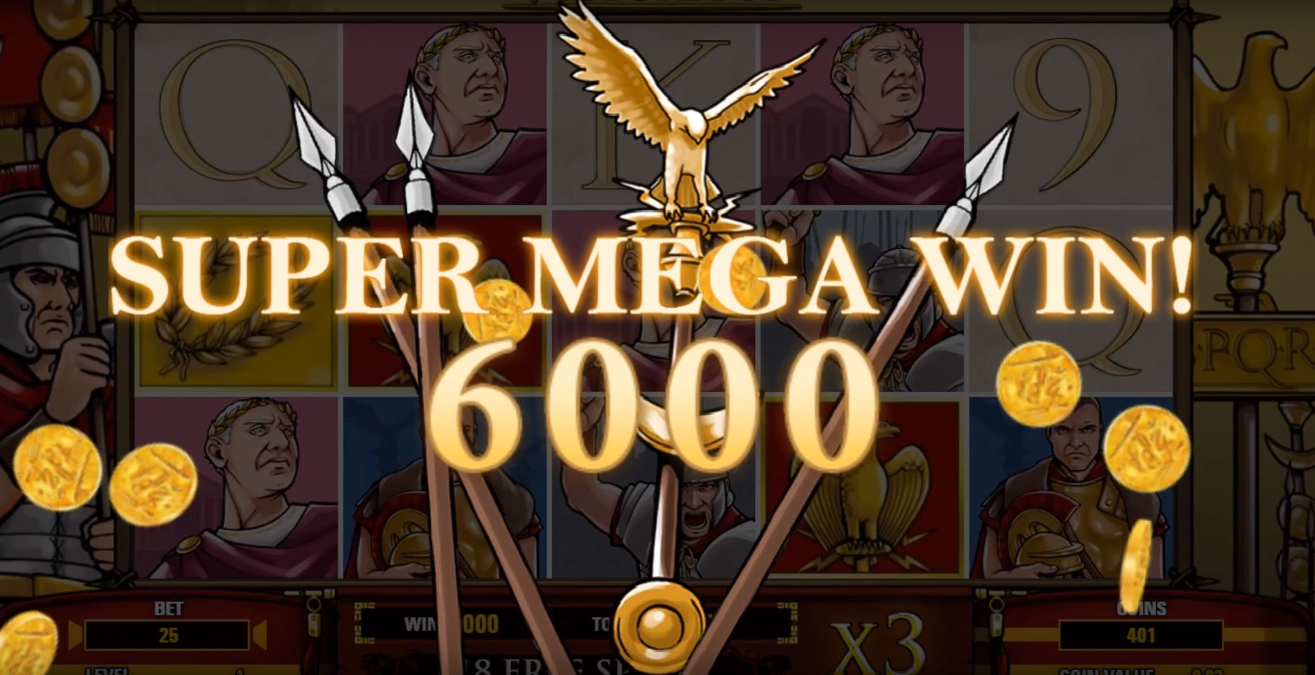 Roman spears behind the Super Mega Win in the Victorious Max slot.