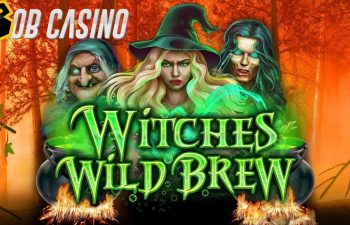 Three witches from Hocus Pocus on the logo of Witches Wild Brew slot from Booming Games.