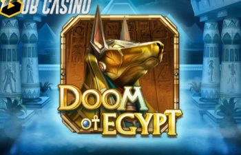 Anubis in the logo of the new Doom of Egypt slot, free demo of which you can play on Bob Casino.