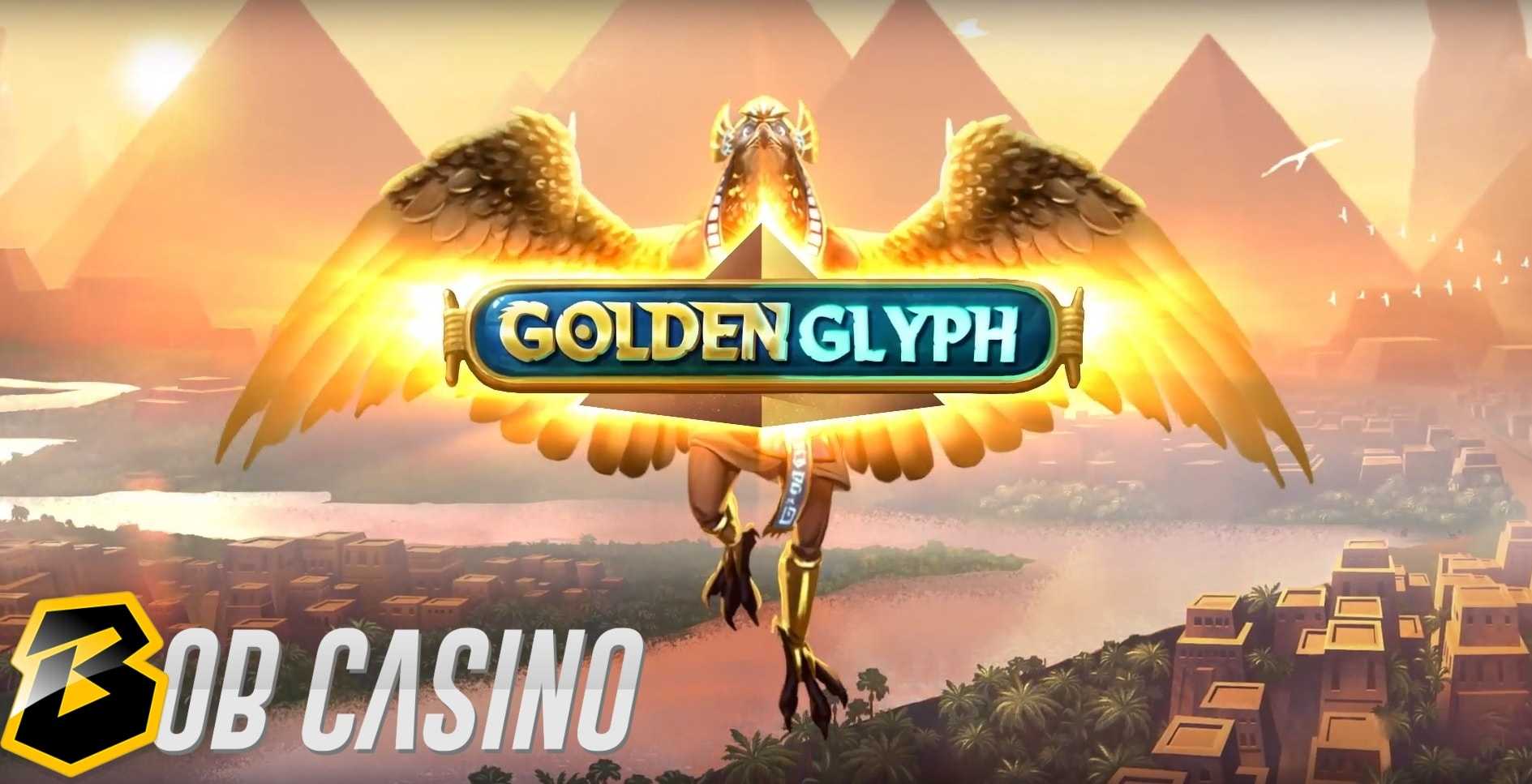 Ancient Egypt background and the glyph in the Golden Glyph slot logo from Quickspin.