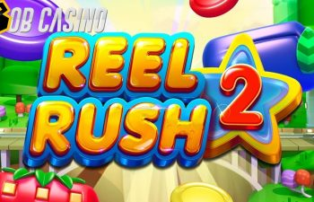 Reel Rush 2 slot logo, looking similar to Candy Crush: find out other similarities in our review.