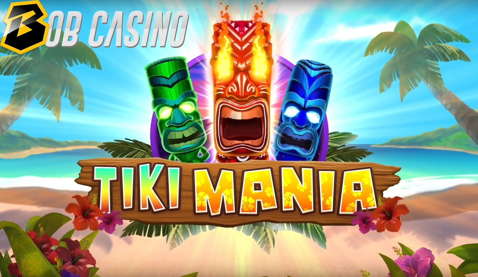 Fiery tikis on the logo of the Tiki Mania slot from Microgaming.