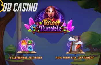 Tower Tumble slot loading screen with a logo of the game.