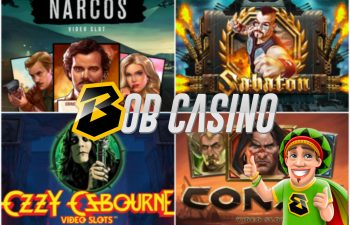 The logos of the top 6 branded slot games of 2019, as listed on Bob Casino.
