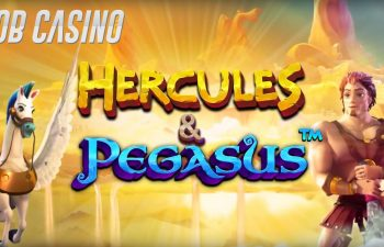 Hercules and Pegasus goofing off on the logo of the self-titled slot from Pragmatic Play.