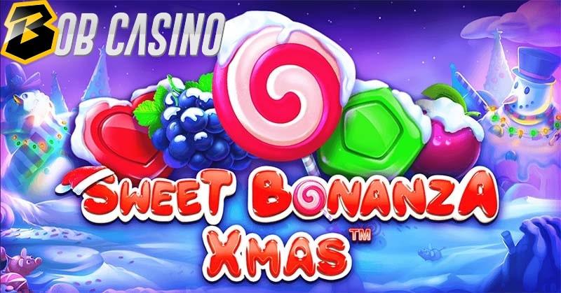 Christmas spirit is seen in the logo of the Sweet Bonanza Xmas slot.