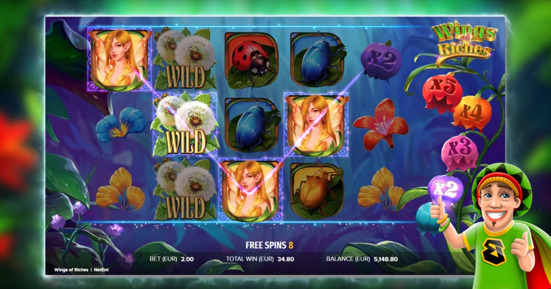 The reels in the Wings of Riches slot in a review from Bob Casino.