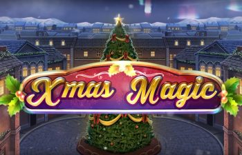 Christmas tree glowing in the logo of Xmas Magic slot in our review.