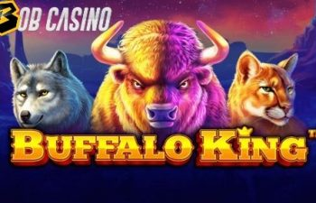 Wild prairie animals on the logo of Bufallo King slot, reviewed by Bob Casino.