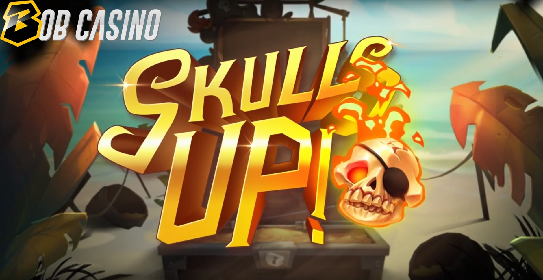The logo of Skulls Up! slot from Quickspin in a review from Bob Casino.