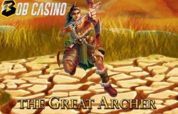 The underwhelming logo of The Great Archer slot.