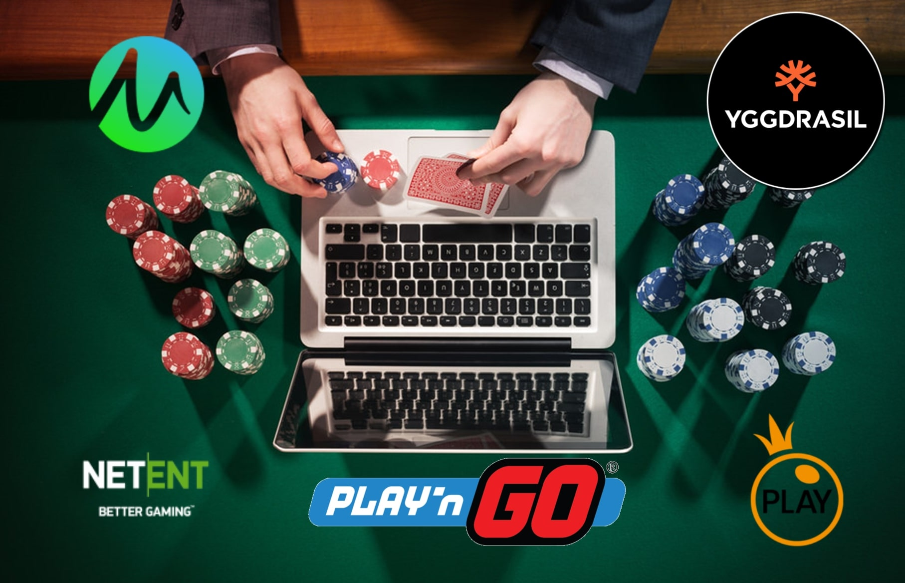 A man playing online casino games made by the top 5 slot game providers of 2019.