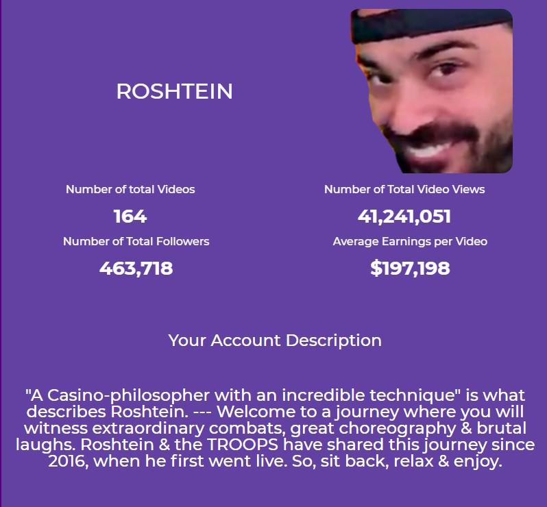 Twitch statistics and average income of Roshtein casino streamer.