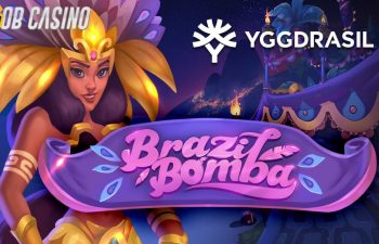 The mascot and logo of the Brazil Bomba slot from Yggdrasil.