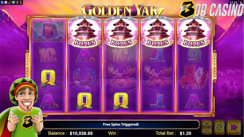 Golden Yak slot reels in the Bob Casino review.