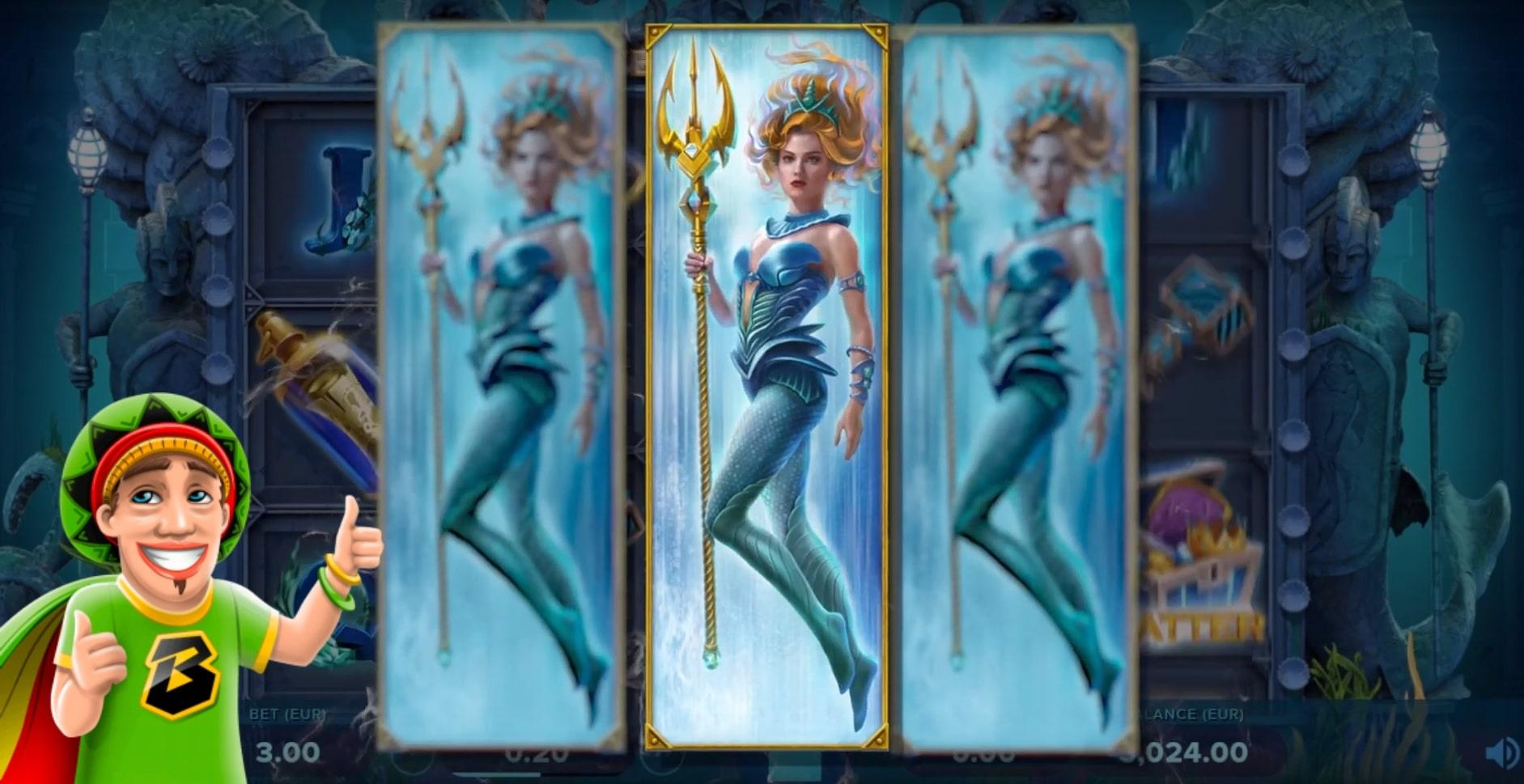 Mermaid Wild symbols on the reels of the Ocean's Treasure slot