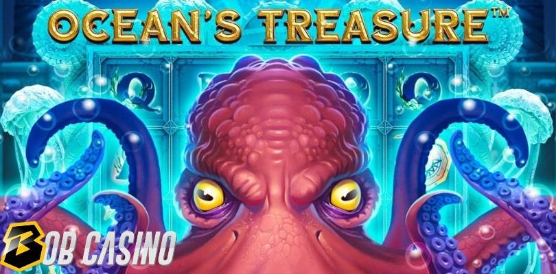 A giant Kraken on the logo of the Ocean's Treasure slot.