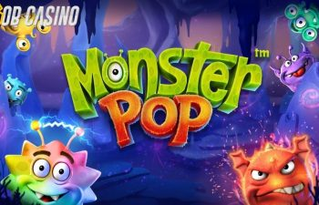 Betsoft's Monster Pop slot logo in a review from Bob Casino.