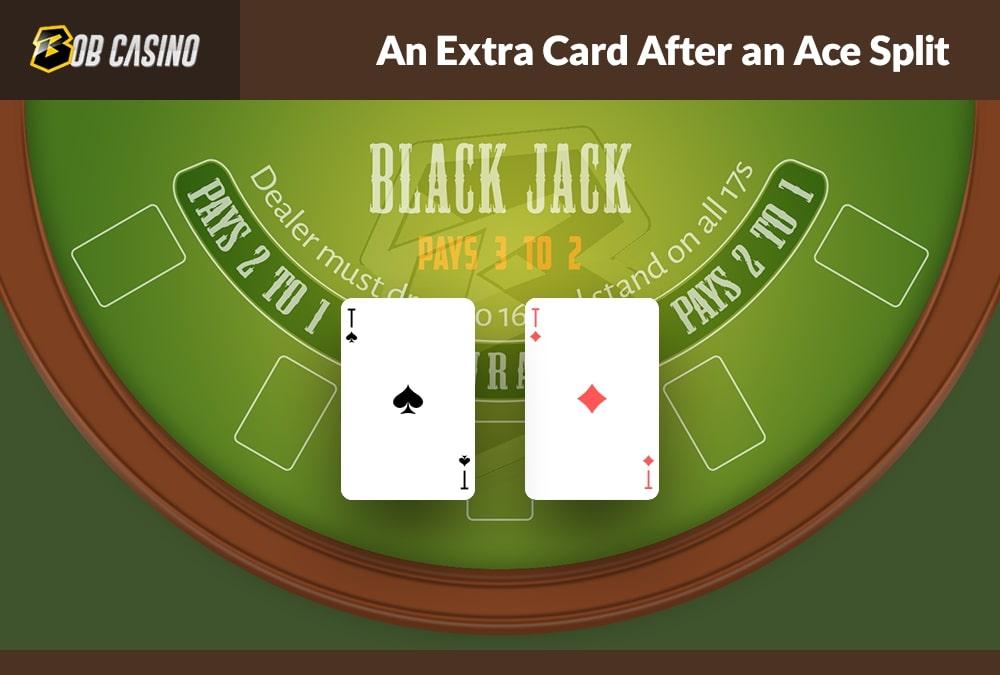 Extra card after ace split in blackjack