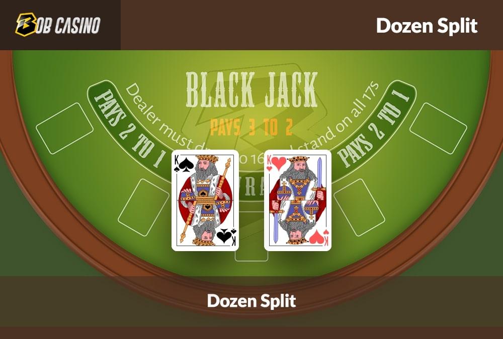 Two K cards that provide an option for dozen split in Blackjack.