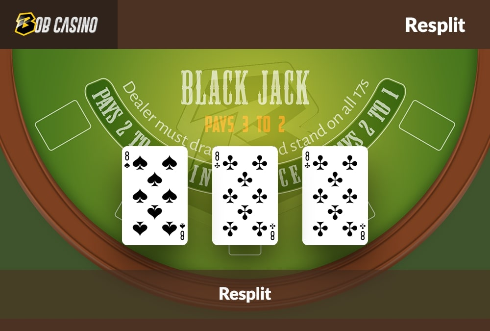 Three eight-value cards that provide an option for a resplit in Blackjack.