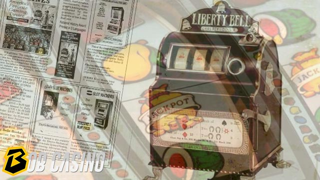 Vintage Liberty bell slot machine and modern slot symbols