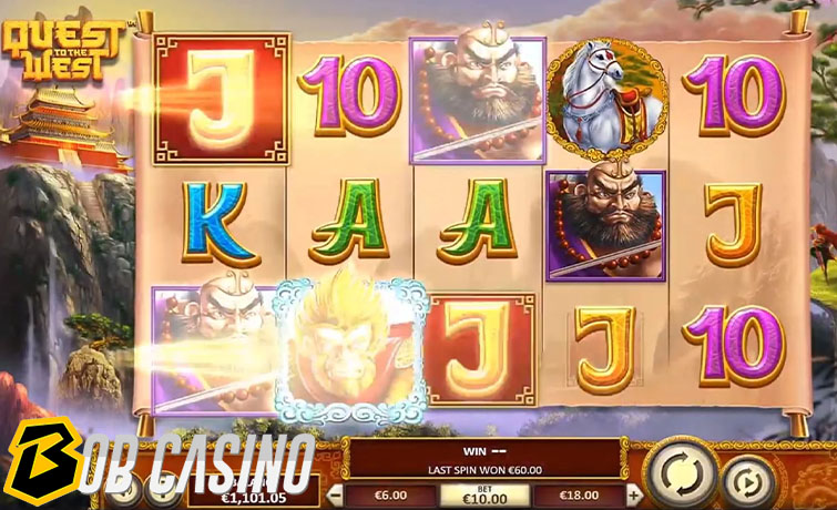 Bonus round in quest to the west slot on Bob Casino