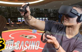 man using oculus rift to play virtual casino