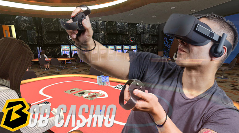 man using oculus rift to play virtual casino