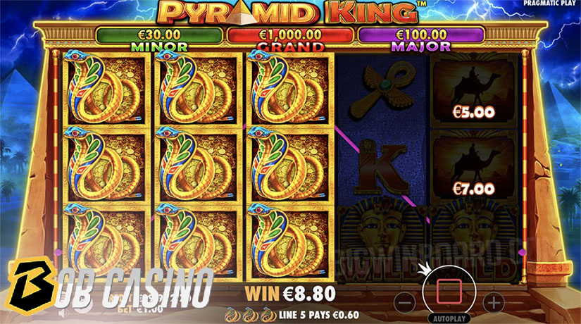 Bonus Round in Pyramid King Slot on Bob Casino