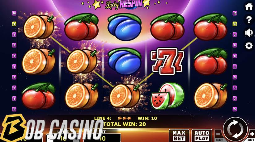 Bonus round in Lucky respin slot on Bob casino