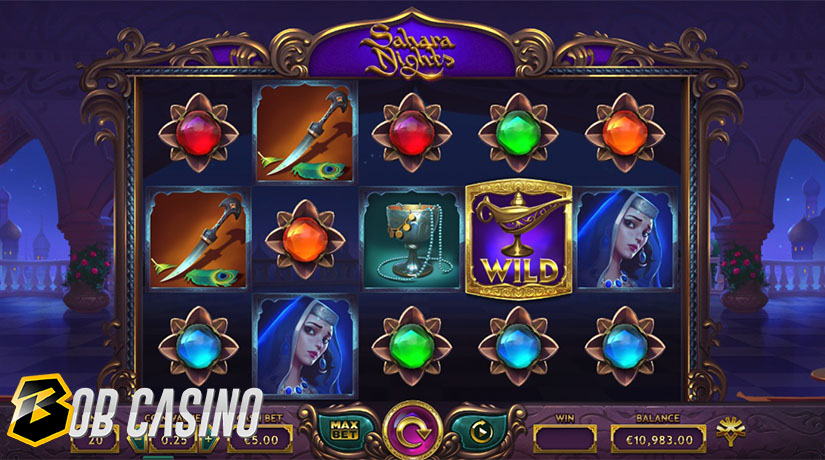 Scatter Free Spin bonus round in the Sahara Nights Slot